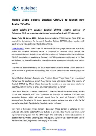 Mondo Globo selects Eutelsat CIRRUS to launch new Arabic TV offer