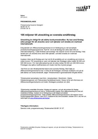 105 miljoner till utveckling av svenska småföretag