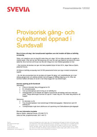 Provisorisk gång- och cykelbro öppnad i Sundsvall