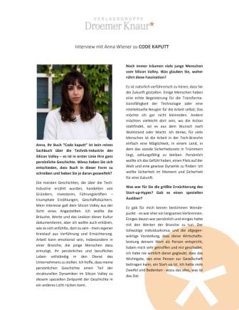 """Interview mit Anna Wiener zu """"Code kaputt"""""""