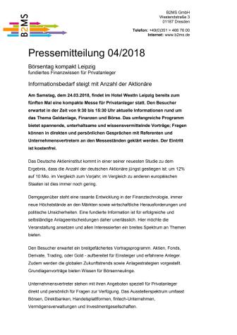 Börsentag kompakt Leipzig - fundiertes Finanzwissen für Privatanleger