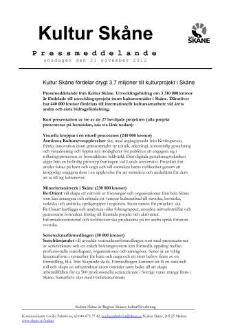 Kultur Skåne fördelar drygt 3,7 miljoner till kulturprojekt i Skåne