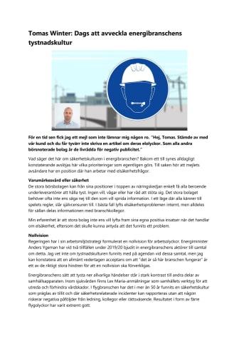 Tomas Winter: Avveckla energibranschens tystnadskultur
