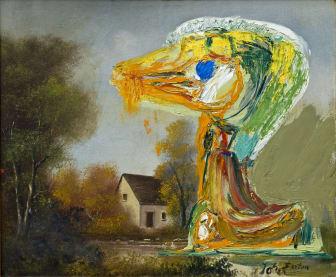 Jorns maleri: Le canard inquiétant. (De foruroligende ælling) 1959
