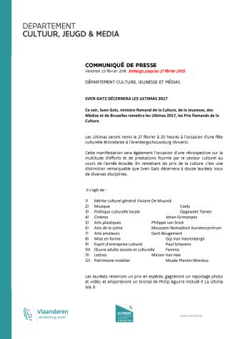 COMMUNIQUÉ DE PRESSE (embargo jusqu'au 27 février 21h15)