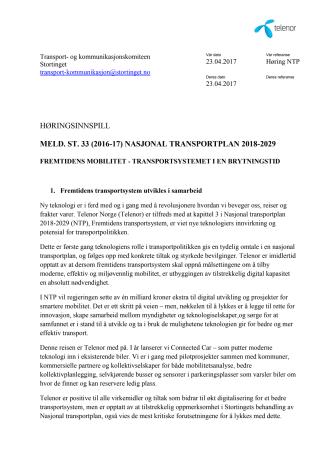 Telenors høringsinnspill til NTP