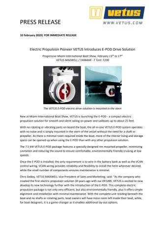 Miami International Boat Show: Electric Propulsion Pioneer VETUS Introduces E-POD Drive Solution