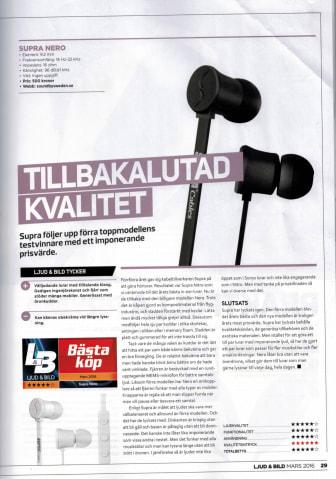 """SUPRA NERO - """"Bästa Köp"""" i tidningen Ljud & Bild"""