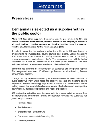 Bemannia is selected as a supplier within the public sector