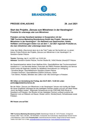 """Start des Projekts """"Genuss zum Mitnehmen in der Havelregion"""""""