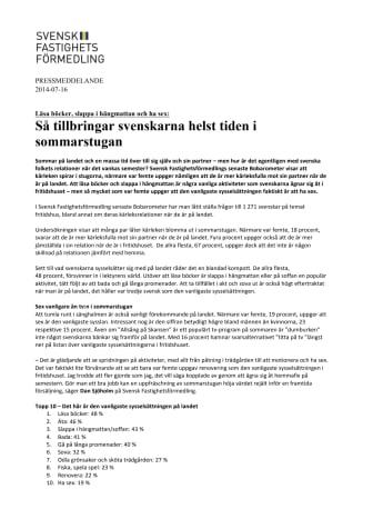 Läsa böcker, slappa i hängmattan och ha sex: Så tillbringar svenskarna helst tiden i sommarstugan