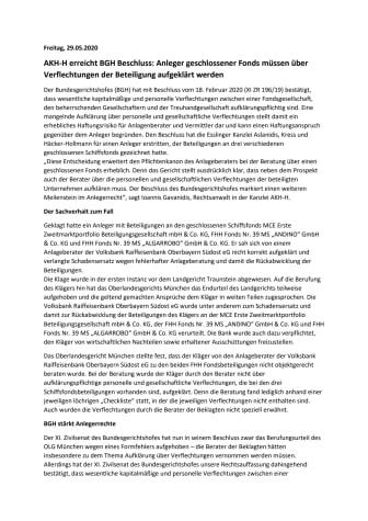 AKH-H erreicht BGH Beschluss: Anleger geschlossener Fonds müssen über Verflechtungen der Beteiligung aufgeklärt werden