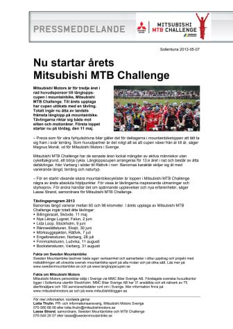 Nu startar årets Mitsubishi MTB Challenge