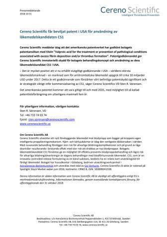 Cereno Scientific får beviljat patent i USA för användning av läkemedelskandidaten CS1