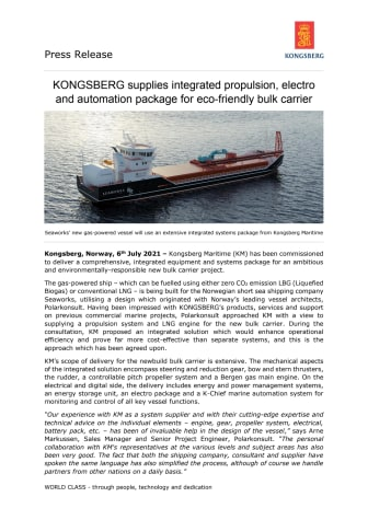 KONGSBERG supplies integrated propulsion, electro and automation package for eco-friendly bulk carrier
