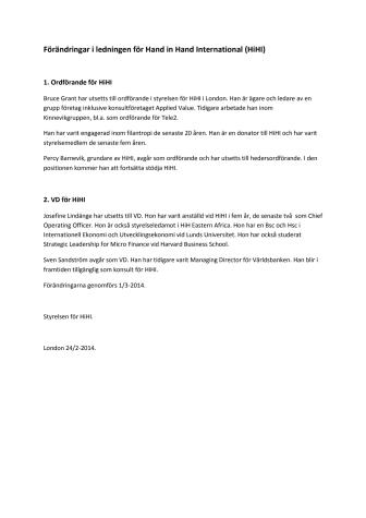Förändringar i ledningen för Hand in Hand International (HiHI)