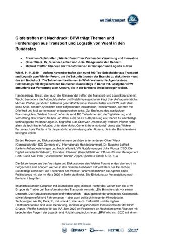 Gipfeltreffen mit Nachdruck: BPW trägt Themen und Forderungen aus Transport und Logistik von Wiehl in den Bundestag