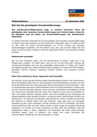 Medienmitteilung (PDF) AutoScout24 Staedteranking 2020
