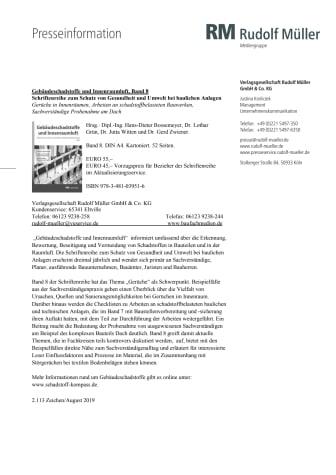 Gebäudeschadstoffe und Innenraumluft, Band 8