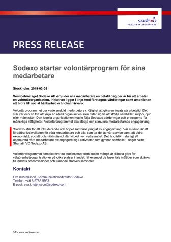 Sodexo startar volontärprogram för sina medarbetare