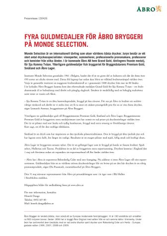 Fyra guldmedaljer för Åbro Bryggeri på Monde Selection