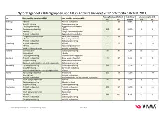 Vismas rapport över nyföretagandet bland unga första halvåret 2012