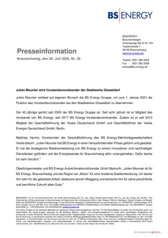 Julien Mounier wird Vorstandsvorsitzender der Stadtwerke Düsseldorf