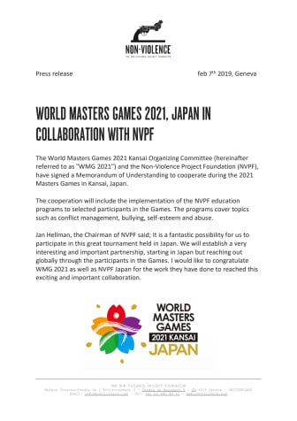 ​World Masters Games 2021, Japan in collaboration with NVPF