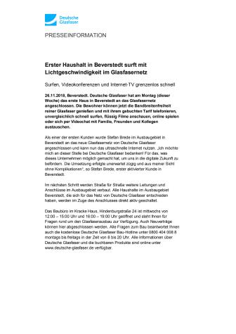 Erster Haushalt in Beverstedt surft mit Lichtgeschwindigkeit im Glasfasernetz
