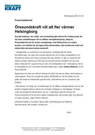 Öresundskraft vill att fler värmer Helsingborg