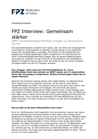 FPZ Interview: Gemeinsam stärker - GMKT Vorstandsmitglied Bernhard Dregger zur Kooperation mit FPZ