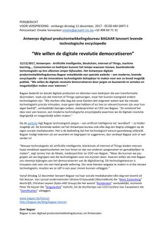 Antwerps digitaal productontwikkelingsbureau BAGAAR lanceert levende technologische encyclopedie