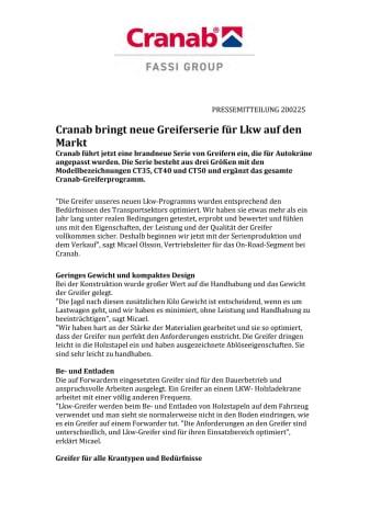 Cranab bringt neue Greiferserie für Lkw auf den Markt