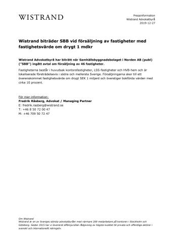 Wistrand biträder SBB vid försäljning av fastigheter med fastighetsvärde om drygt 1 mdkr