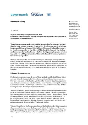 Bayerns erster Regelenergiespeicher am Netz