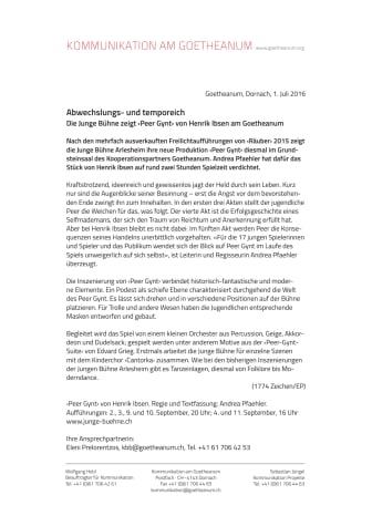VORSCHAU Abwechslungs- und temporeich –  Die Junge Bühne zeigt ‹Peer Gynt› von Henrik Ibsen am Goetheanum