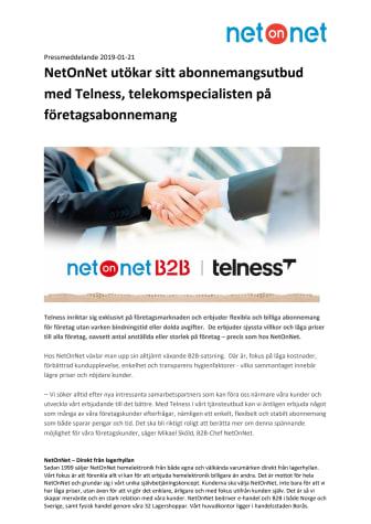 NetOnNet utökar sitt abonnemangsutbud med Telness, telekomspecialisten på företagsabonnemang