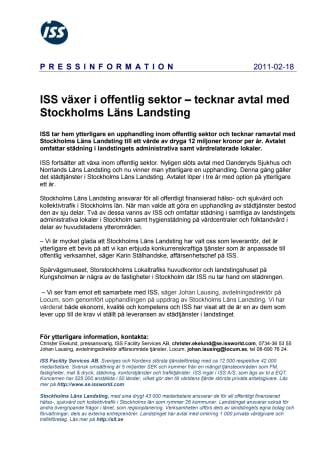 ISS växer i offentlig sektor – tecknar avtal med Stockholms Läns Landsting