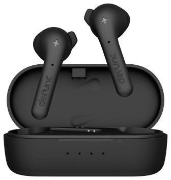 Defunc TRUE BASIC Alternative Earbuds Poping Out of the Charging Case Black.png