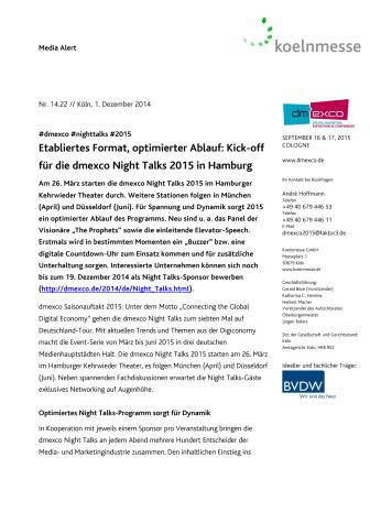 Etabliertes Format, optimierter Ablauf: Kick-off für die dmexco Night Talks 2015 in Hamburg