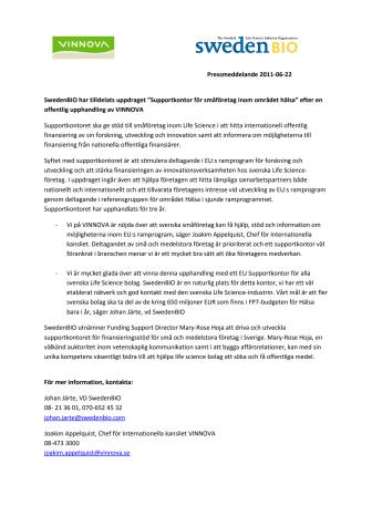 """SwedenBIO har tilldelats uppdraget """"Supportkontor för småföretag inom området hälsa"""" efter en offentlig upphandling av VINNOVA"""