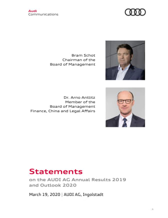 Statement on the AUDI AG Annual Results 2019