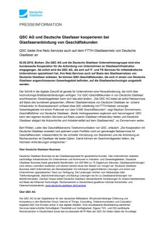 QSC AG und Deutsche Glasfaser kooperieren bei Glasfaseranbindung von Geschäftskunden