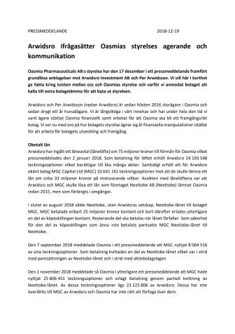 Arwidsro ifrågasätter Oasmias styrelses agerande och  kommunikation