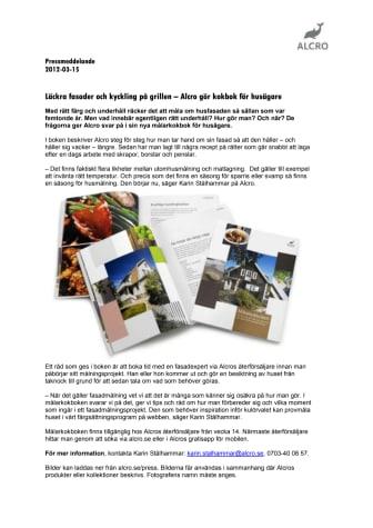 Läckra fasader och kyckling på grillen - Alcro gör kokbok för husägare