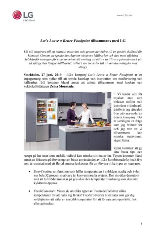 Let's Leave a Better Foodprint tillsammans med LG