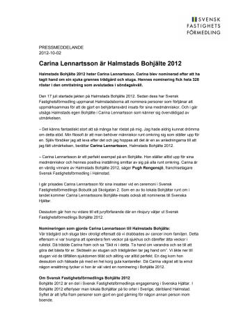 Carina Lennartsson är Halmstads Bohjälte 2012