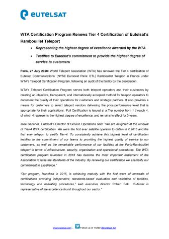WTA Certification Program Renews Tier 4 Certification of Eutelsat's Paris-Rambouillet Teleport