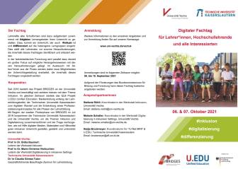 Flyer zum digitalen Fachtag für Lehrkräfte: #inklusion #digitalisierung #differenzierung