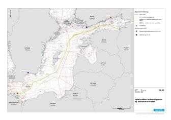 Kort over Nord Stream 2 linjeføring - hele ruten